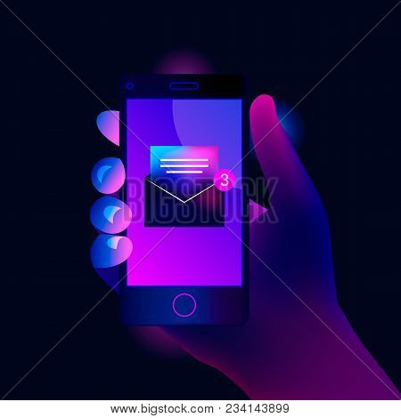 New Open Email Notification On Mobile Phone. Smartphone Screen With New Unread E-mail Message. Trend