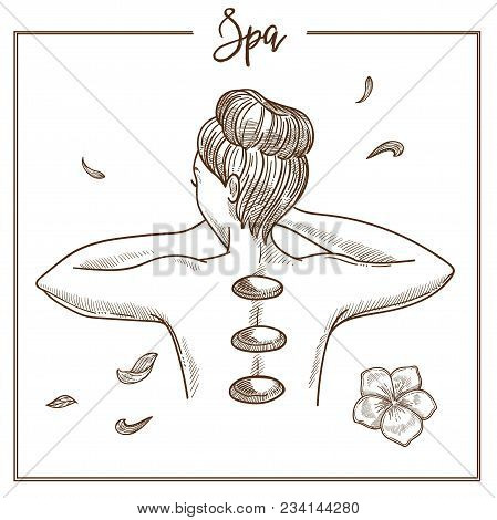 Spa Salon Hot Stones Treatment Sketch Icon. Vector Isolated Massage Hot Stones On Woman Back For Spa