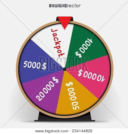 Six Segmentation Fortune Wheel Lottery Object. Gamble Jackpot Prize Spin With Shadow. Round Drum Cas