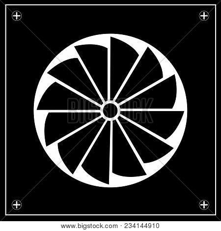 Exhaust Fan Icon. Logo. Emblem. Black Tones.