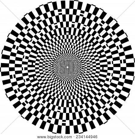Optical Checkered  Illusion Tunnel. Black Tones. Background