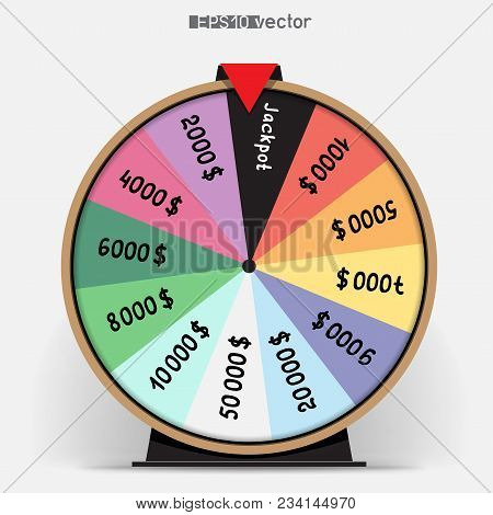 Twelve Segmentation Rainbow Fortune Wheel Lottery Object. Gamble Jackpot Prize Spin With Shadow. Rou