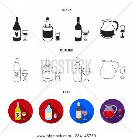 White Wine, Red Wine, Gin, Sangria.alcohol Set Collection Icons In Black, Flat, Outline Style Vector