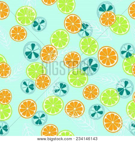 Seamless Pattern With Pieces Of Citrus Fruit And Leaves On Turquoise, Colored Citrus Background