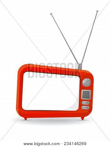 Colorful Cartoon Style Tv Set With A Blank Copy Space On The Screen, Isolated On White. Eps10 Vector