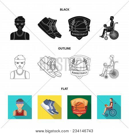 Basketball And Attributes Black, Flat, Outline Icons In Set Collection For Design.basketball Player