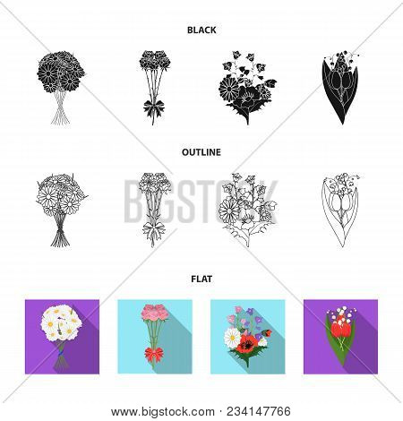 A Bouquet Of Fresh Flowers Black, Flat, Outline Icons In Set Collection For Design. Various Bouquets