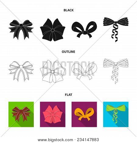 Bow, Ribbon, Decoration, And Other  Icon In Black, Flat, Outline Style. Gift, Bows Node Icons In Set