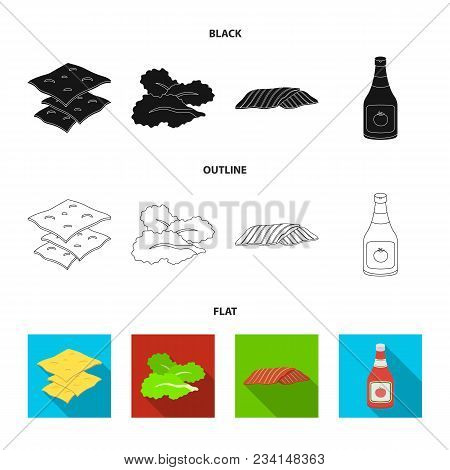 Burger And Ingredients Black, Flat, Outline Icons In Set Collection For Design. Burger Cooking Vecto