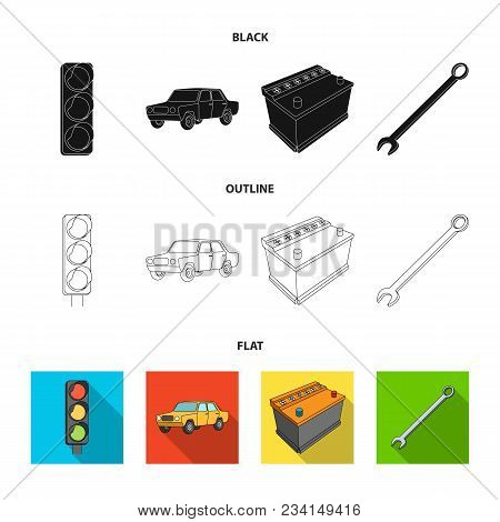 Traffic Light, Old Car, Battery, Wrench, Car Set Collection Icons In Black, Flat, Outline Style Vect