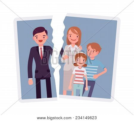 Family Breakup Problem. A Photo With Rift Between People, Serious Quarrel Or Spouse Disagreement To