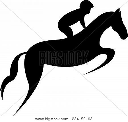 Simplified Horse Race.  Equestrian Sport. Silhouette Of Racing Horse With Jockey. Jumping. Second St