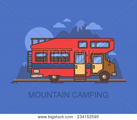 Recreational Vehicle, Rv Near Mountain At Night. Lorry Or Truck Camper At Journey Or Travel, Caravan