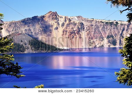 Wizard Island Crater Lake Reflection Blue Pink Reflection Oregon