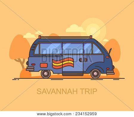 Minivan Driving Through Savannah. Car At Safari Travel, Vehicle On Africa Trip, Auto In Wildlife Ste