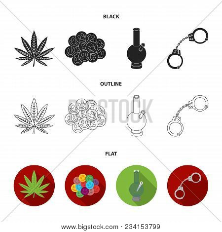 Hemp Leaf, Ecstasy Pill, Handcuffs, Bong.drug Set Collection Icons In Black, Flat, Outline Style Vec