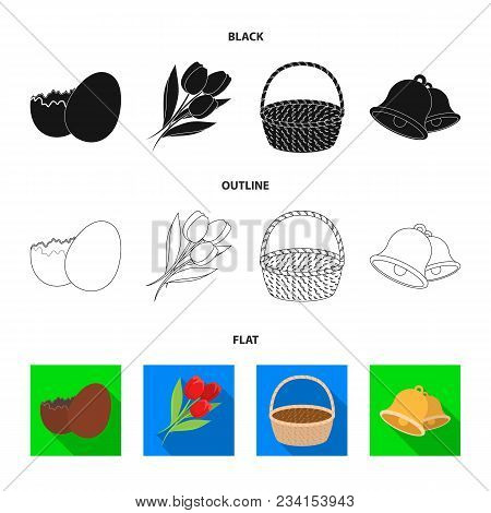 Chocolate Egg, Bells, Basket And Flowers.easter Set Collection Icons In Black, Flat, Outline Style V