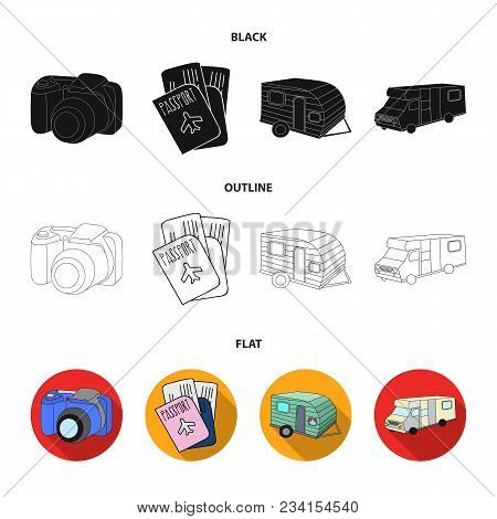 Vacation, Photo, Camera, Passport .family Holiday Set Collection Icons In Black, Flat, Outline Style