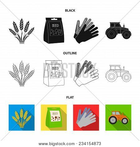 Spikelets Of Wheat, A Packet Of Seeds, A Tractor, Gloves.farm Set Collection Icons In Black, Flat, O