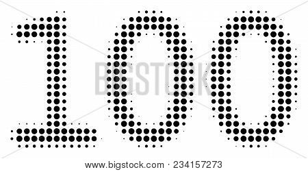100 Text Halftone Vector Pictogram. Illustration Style Is Dotted Iconic 100 Text Icon Symbol On A Wh