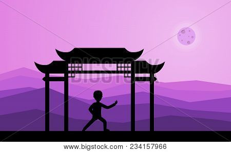 Man Performing Qigong Or Taijiquan Exercises In The Evening. Male Person Practicing Tai Chi, Qi-gong