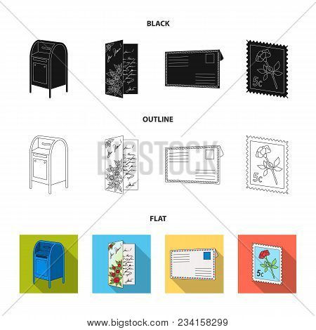 Mailbox, Congratulatory Card, Postage Stamp, Envelope.mail And Postman Set Collection Icons In Black