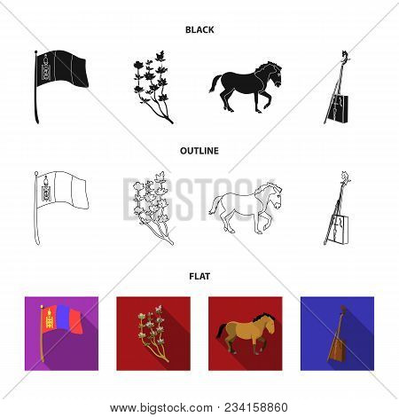 National Flag, Horse, Musical Instrument, Steppe Plant. Mongolia Set Collection Icons In Black, Flat
