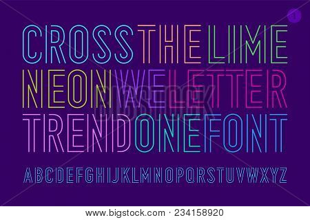 Line Condensed Alphabet And Font. Uppercase Outline Letters. Type, Typography Letter Line Font. Hand