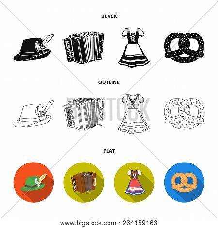 Tyrolean Hat, Accordion, Dress, Pretzel. Oktoberfestset Collection Icons In Black, Flat, Outline Sty