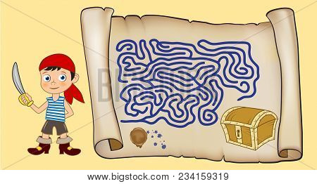 Maze Game For Kids. Cartoon Boy With A Sword Looking For The Path To The Chest Of Jewels. Old Scroll