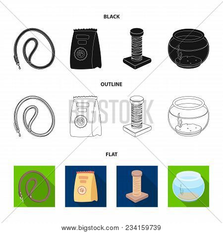 Leash, Feed And Other Zoo Store Products.pet Shop Set Collection Icons In Black, Flat, Outline Style