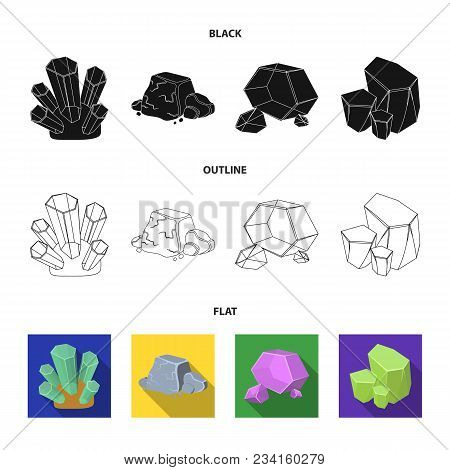 Crystals, Iron Ore. Precious Minerals And A Jeweler Set Collection Icons In Black, Flat, Outline Sty