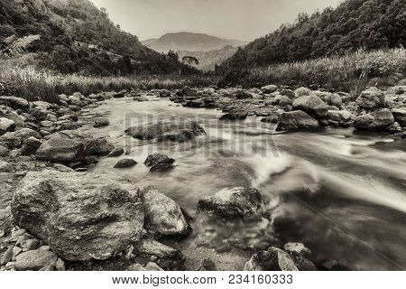 Beautiful Reshi River Water Flowing At, Sikkim, India. Reshi Is One Of The Most Famous Rivers Of Sik
