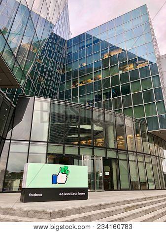 DUBLIN - APRIL 1, 2018: Exterior view of the Facebook corporate office in Dublin, Ireland.