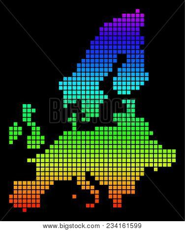 A Dot European Union Map. Vector Geographic Map In Bright Spectrum Colors On A Black Background. Mul