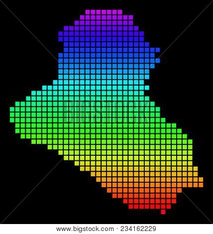 A Dot Iraq Map. Vector Geographic Map In Bright Spectrum Colors On A Black Background. Colored Vecto