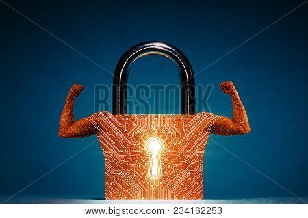 Concept Of Network Security, Virus Protection, Data Protection. Muscles Are Metaphor Of Personal Dat