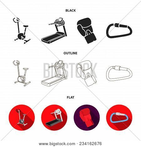 Exercise Bike, Treadmill, Glove Boxer, Lock. Sport Set Collection Icons In Black, Flat, Outline Styl