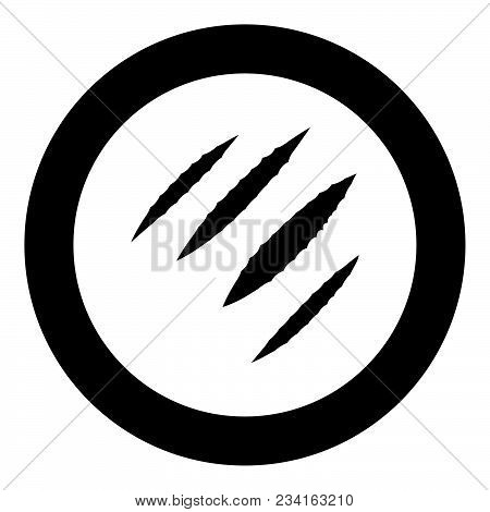 Trail Of Claws Black Icon In Circle Vector Illustration Isolated