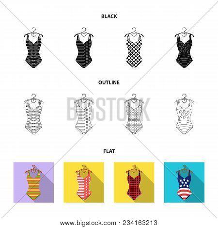 Different Kinds Of Swimsuits. Swimsuits Set Collection Icons In Black, Flat, Outline Style Vector Sy