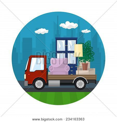 Icon With Small Truck, Lorry Is Transporting Furniture On The Background Of The City, Transport Serv
