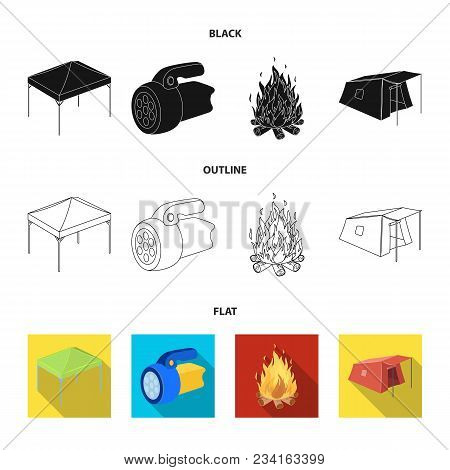 Awning, Fire And Other Tourist Equipment.tent Set Collection Icons In Black, Flat, Outline Style Vec
