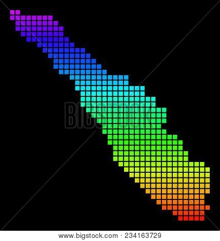 A Dot Sumatra Island Map. Vector Geographic Map In Bright Spectrum Colors On A Black Background. Col