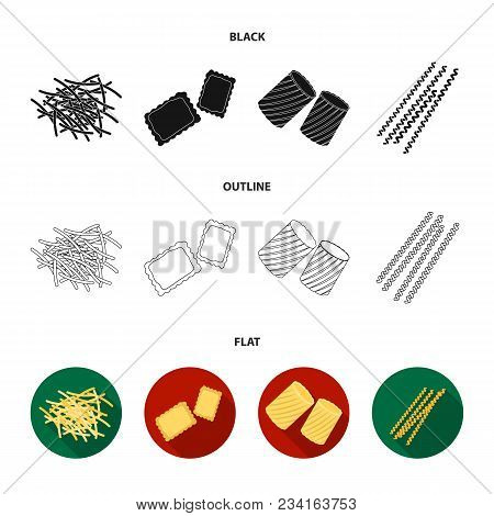 Different Types Of Pasta. Types Of Pasta Set Collection Icons In Black, Flat, Outline Style Vector S