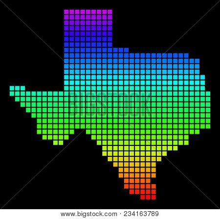 A Dot Texas Map. Vector Geographic Map In Bright Spectrum Colors On A Black Background. Multicolored