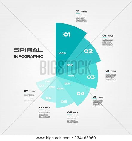 Sunburst-pie Chart, Color Infographics Step By Step In A Series Of Circle. Element Of Chart, Graph,