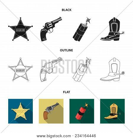 Star Sheriff, Colt, Dynamite, Cowboy Boot. Wild West Set Collection Icons In Black, Flat, Outline St