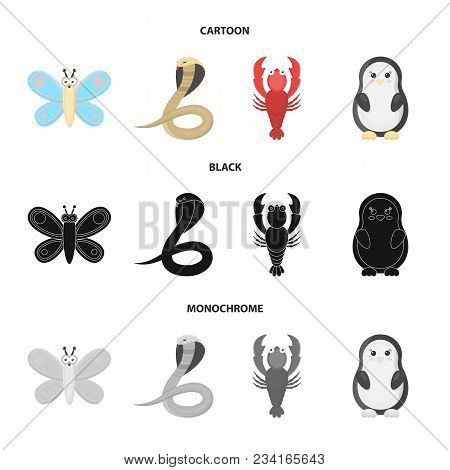 An Unrealistic Cartoon, Black, Monochrome Animal Icons In Set Collection For Design. Toy Animals Vec