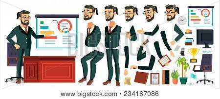 Ceo Business Man Character Vector. Working Bearded Ceo Male. Modern Office Workplace. Chief Executiv
