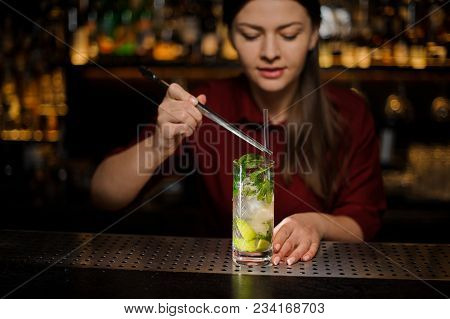 Barmaid In A Red Dress Adds To The Alcohol Cocktail Mojito In A Crystal Glass Cocktail Tuba Using Sp